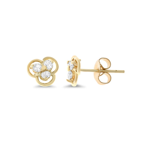 0.24ctw Genuine Natural Diamond Stud Earrings 14kt Yellow Gold