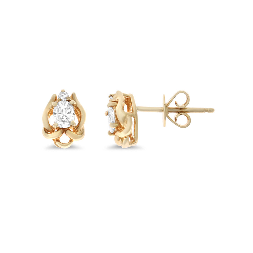 0.28ctw Genuine Natural Diamond Stud Earrings 14kt Yellow Gold