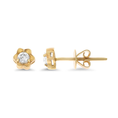 0.18ctw Genuine Natural Diamond Stud Earrings 18kt Yellow Gold