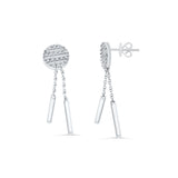 0.24ctw Genuine Natural Diamond Dangling Earrings 18kt White Gold