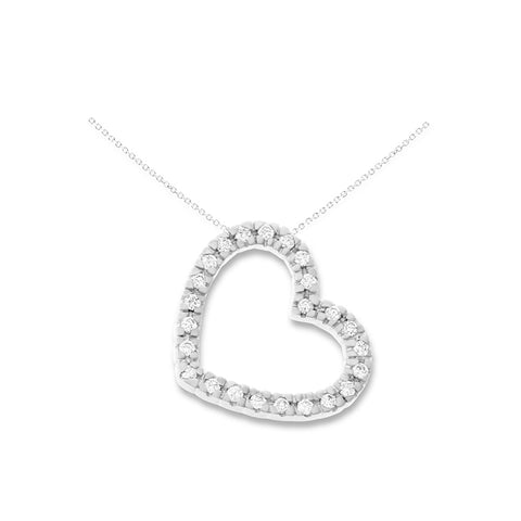 0.24ctw Genuine Natural Diamond Floating Heart Shaped Pendant 14kt White Gold