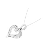 0.31ctw Genuine Natural Diamond Heart Shaped Pendant 14kt White Gold