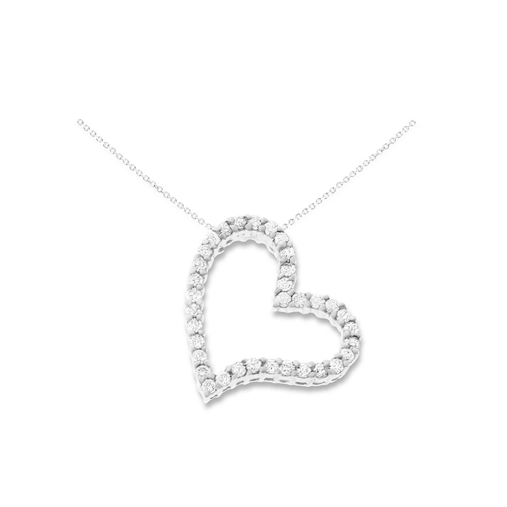 0.50ctw Genuine Natural Diamond Floating Heart Shaped Pendant 14kt White Gold