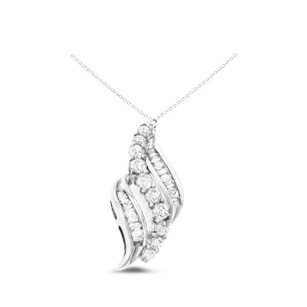 0.77ctw Genuine Natural Diamond Pendant 18kt White Gold