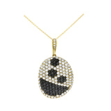 3.82ctw Genuine Natural Black + White Diamond Pendant 18kt Yellow Gold