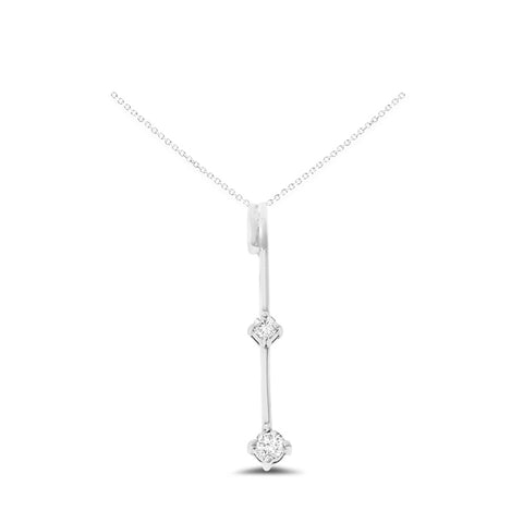 0.13ctw Genuine Natural Diamond Dropped Pendant 14kt White Gold