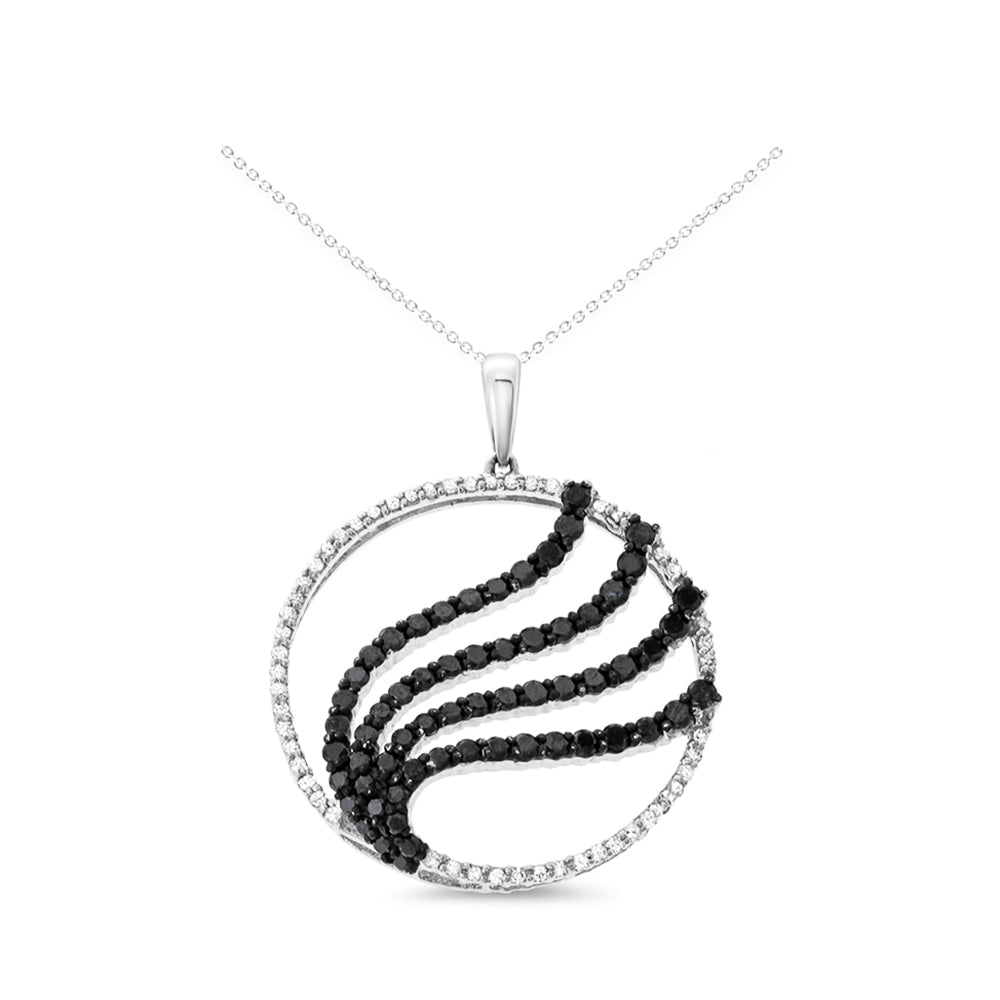 1.35ctw Genuine Natural Black + White Diamond Pendant 14kt White Gold