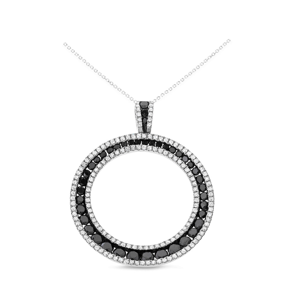 2.63ctw Genuine Natural Black + White Diamond Pendant 14kt White Gold