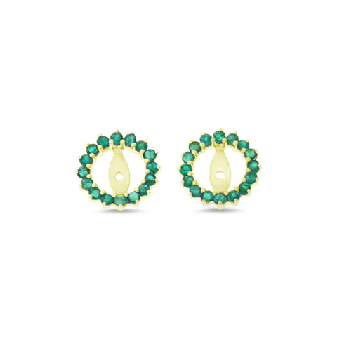 0.70ctw Genuine Natural Emerald Round Shaped Earrings Jacket 14kt Yellow Gold