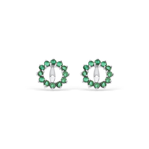 0.69ctw Genuine Natural Emerald Round Shaped Earrings Jacket 14kt White Gold