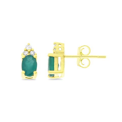 1.06ctw Genuine Natural Emerald and Diamond Earrings 14kt Yellow Gold