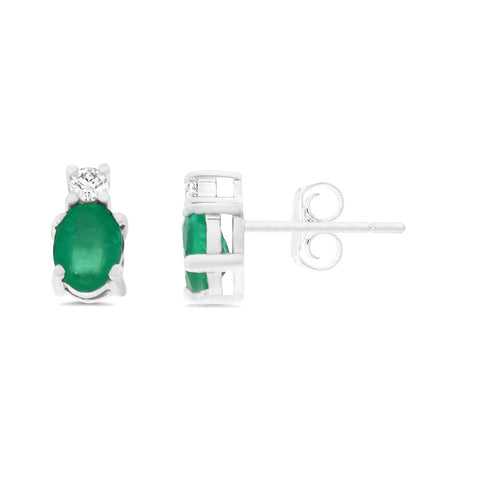 0.90ctw Genuine Natural Emerald and Diamond Earrings 14kt White Gold