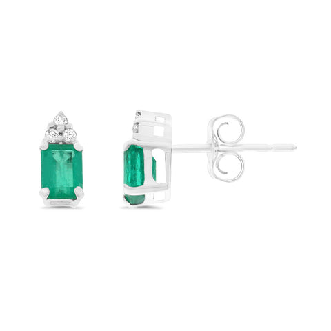 0.73ctw Genuine Natural Emerald and Diamond Earrings 18kt White Gold