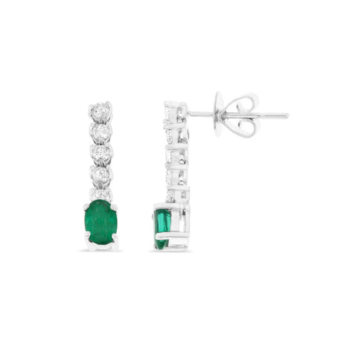 1.14ctw Genuine Natural Emerald and Diamond Dangling Earrings 18kt White Gold
