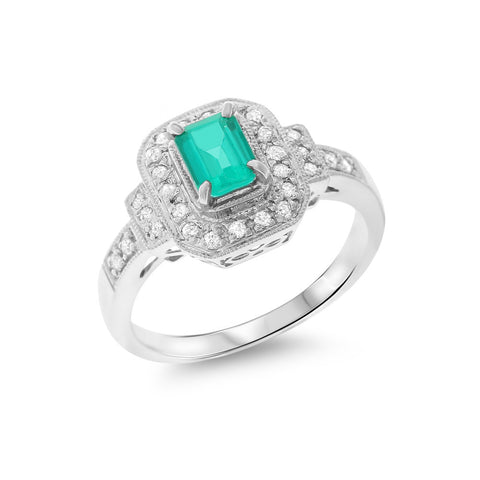 0.75ctw Genuine Natural Emerald and Diamond Ring Size 6.75 18kt White Gold