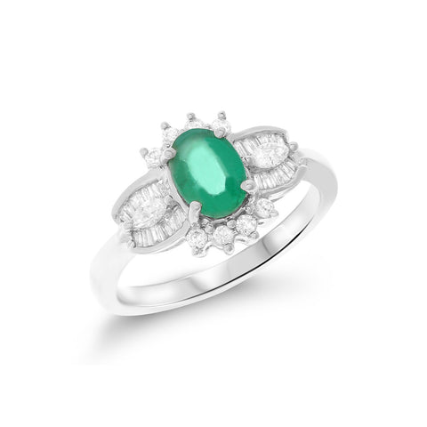 1.22ctw Genuine Natural Emerald and Diamond Ring Size 6.5 18kt White Gold