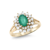 1.52ctw Genuine Natural Emerald and Diamond Ring Size 6.25 14kt Yellow Gold