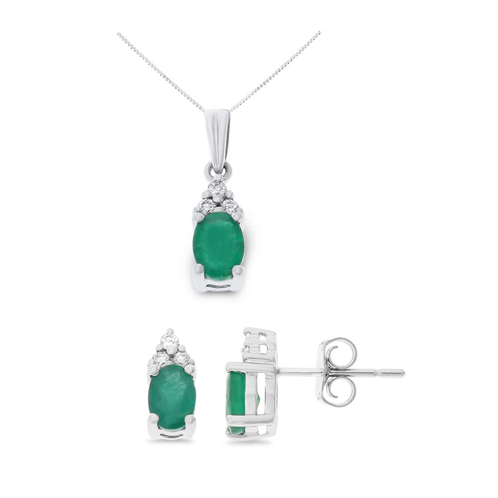 1.59ctw Genuine Natural Emerald and Diamond Set 14kt White Gold