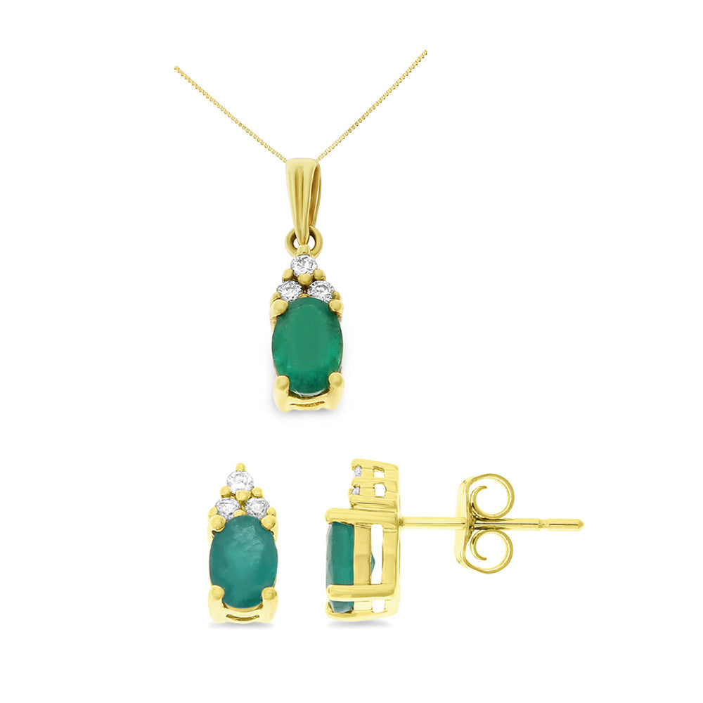 1.59ctw Genuine Natural Emerald and Diamond Set 14kt Yellow Gold