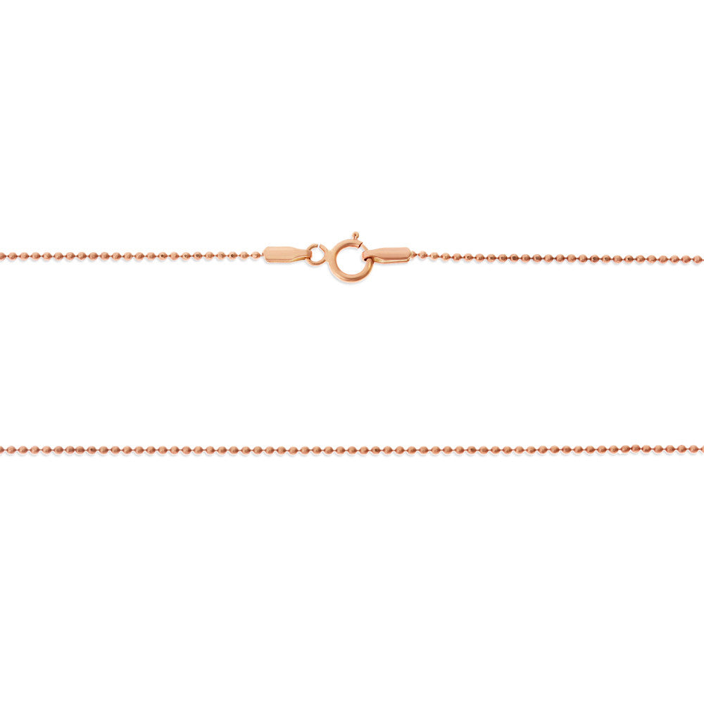 "18"" 1.0 mm. Round Bead Necklace Gold Chain 14kt Rose Gold"