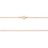 "16"" 1.0 mm. Round Bead Necklace Gold Chain 14kt Rose Gold"