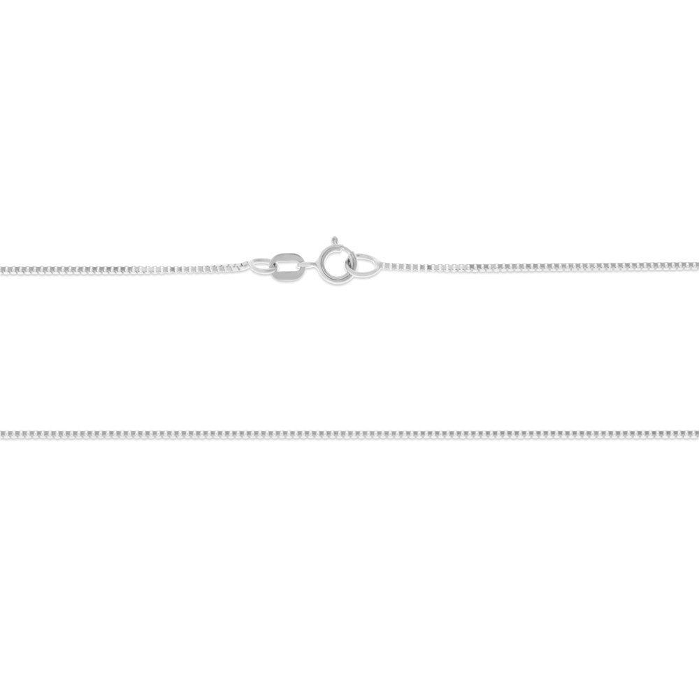 "24"" 0.7 mm. Square Box Necklace Gold Chain 14kt White Gold"