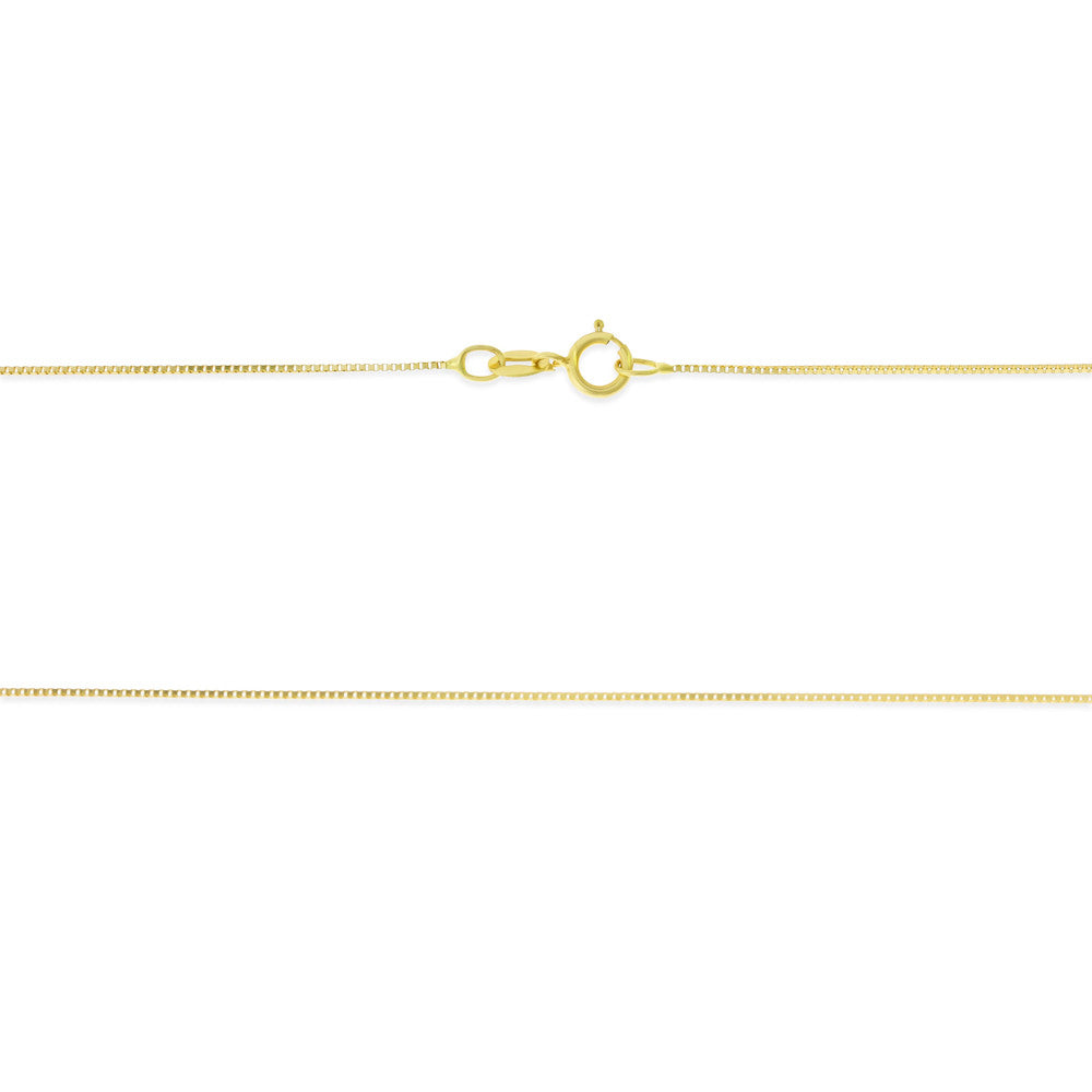 "24"" 0.6 mm. Square Box Necklace Gold Chain 14kt Yellow Gold"