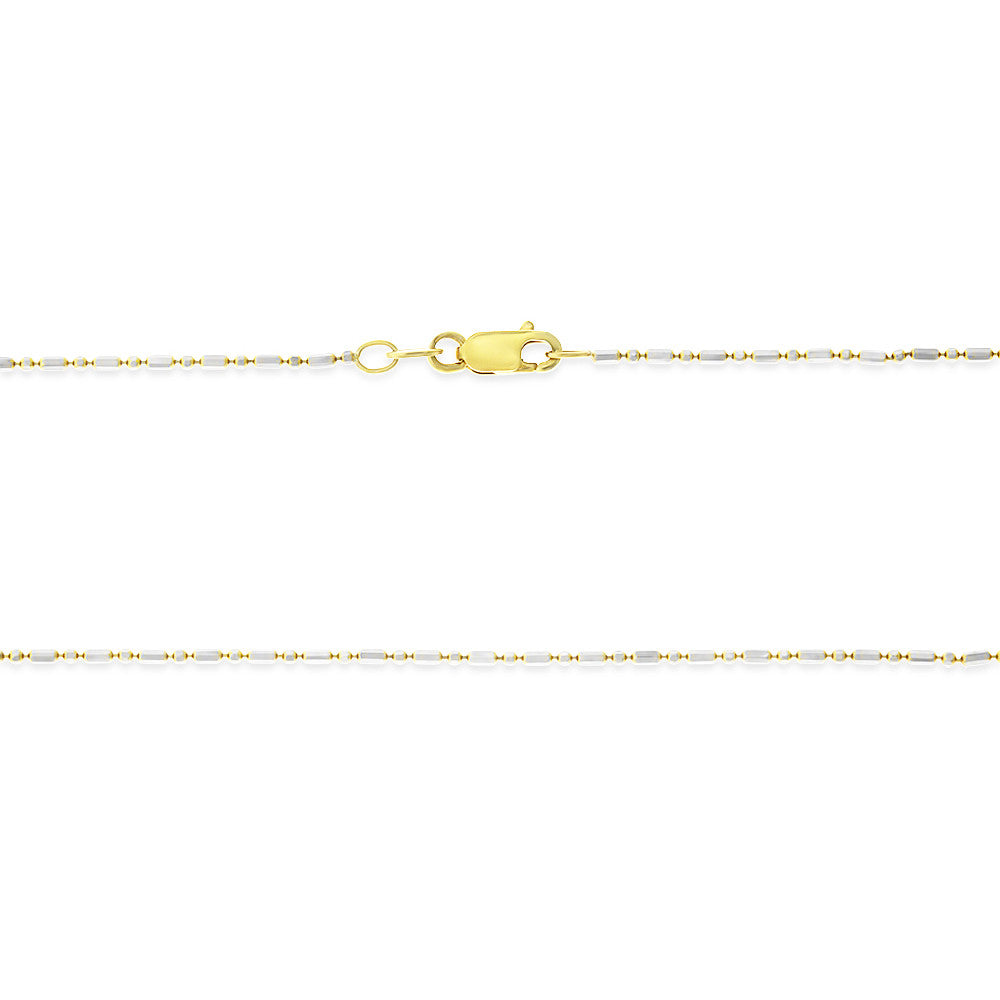 "16"" 1.1 mm. Bar & Bead Two-Tone Necklace Gold Chain 14kt Yellow Gold"