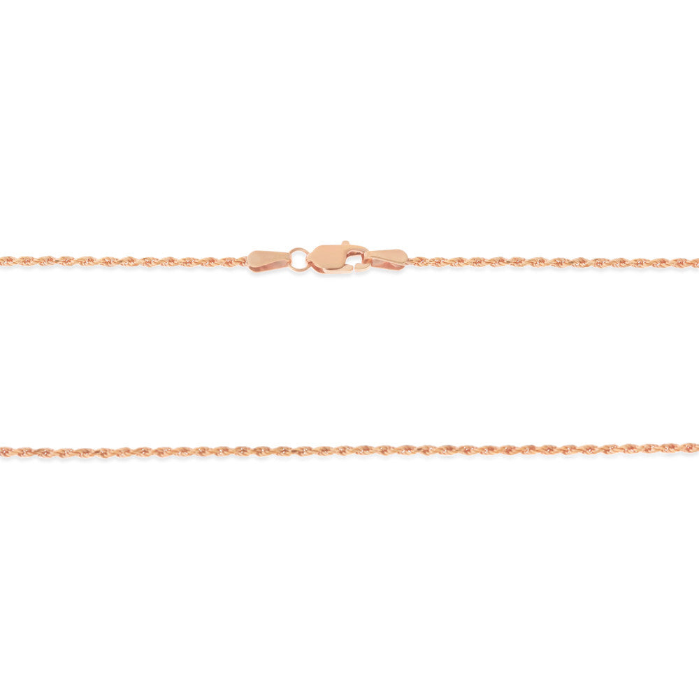 "16"" 1.1 mm. Rope Necklace Gold Chain 14kt Rose Gold"
