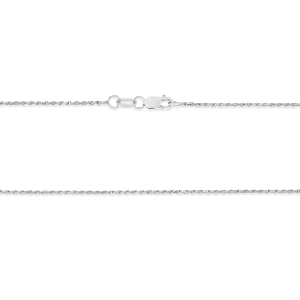 "22"" 1.1 mm. Rope Necklace Gold Chain 14kt White Gold"