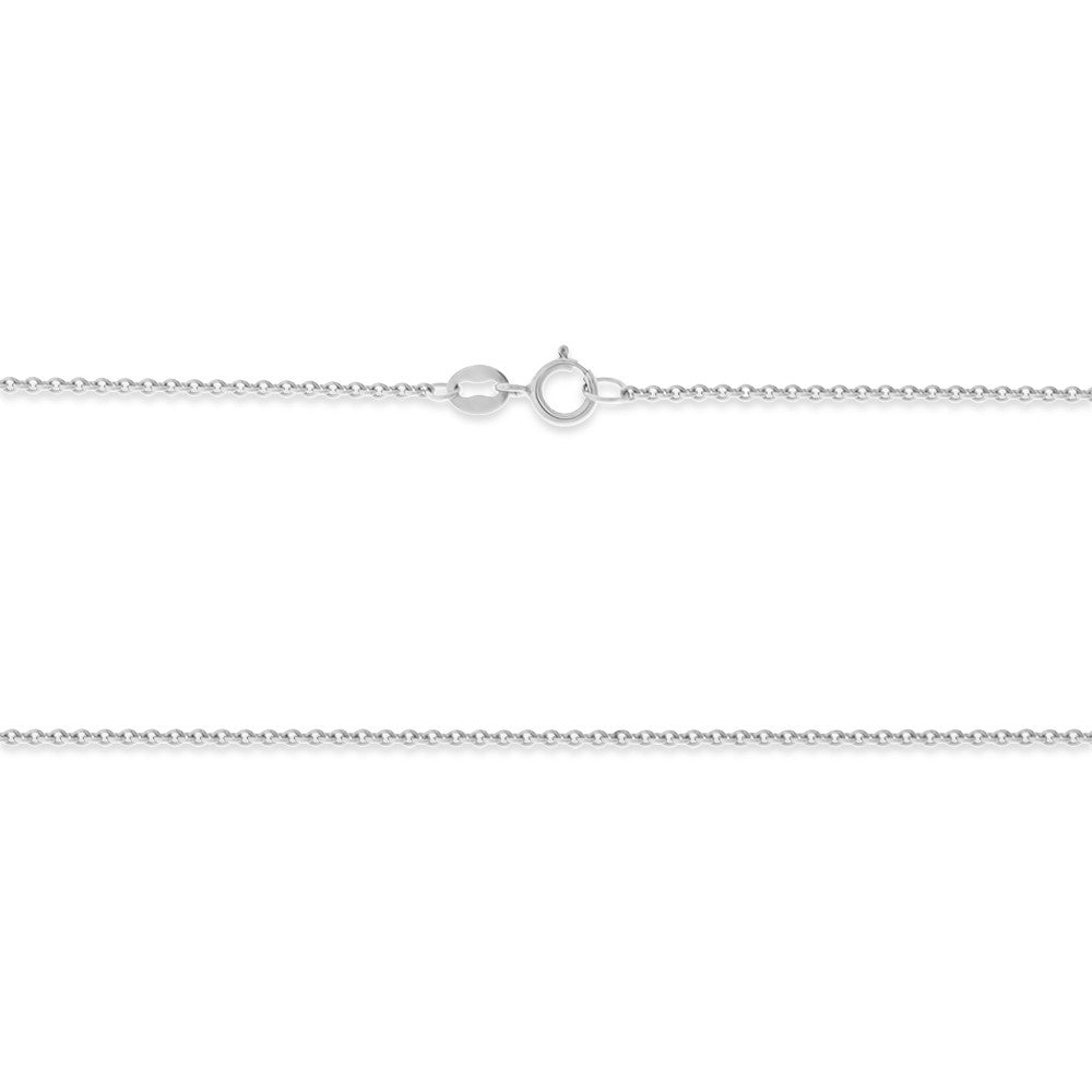 "22"" 0.8 mm. Round Rolo Necklace Gold Chain 14kt White Gold"