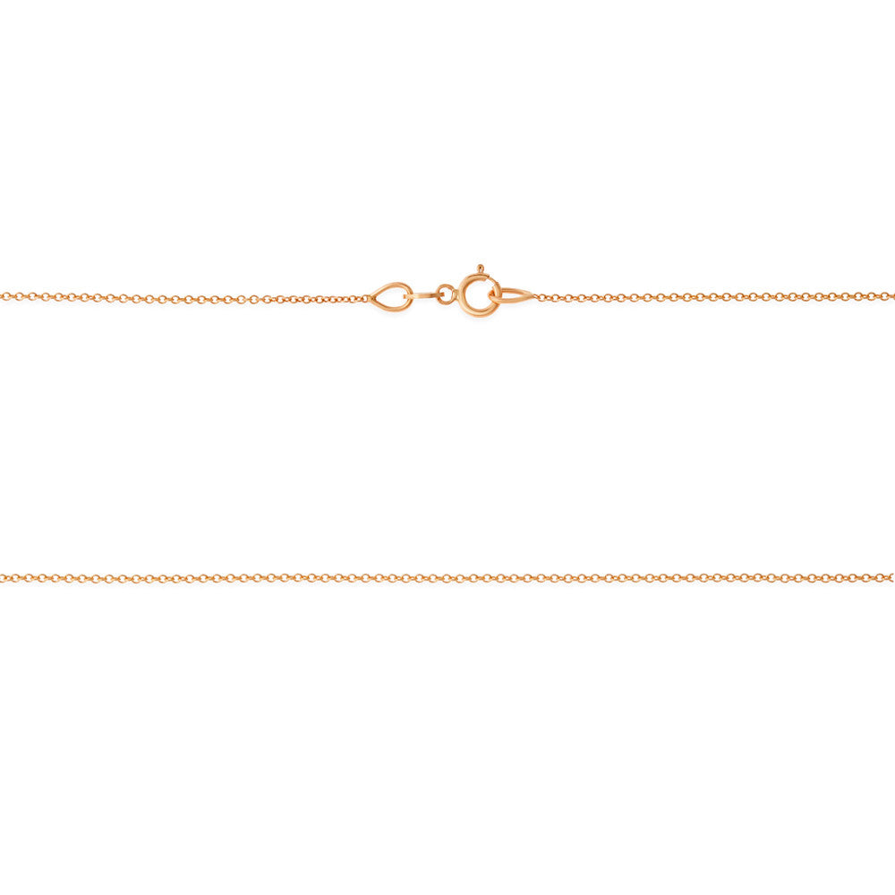 "18"" 0.4 mm. Round Rolo Necklace Gold Chain 14kt Rose Gold"