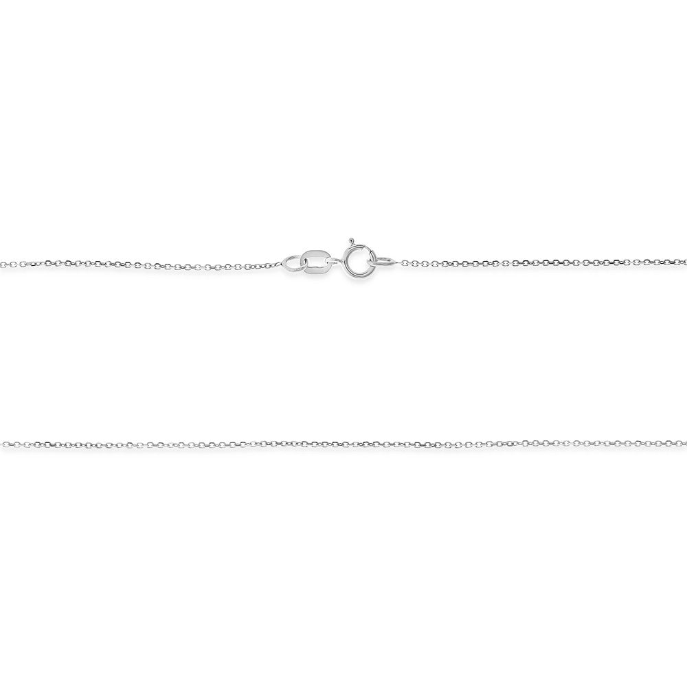 "20"" 0.4 mm. Square Rolo Necklace Gold Chain 14kt White Gold"