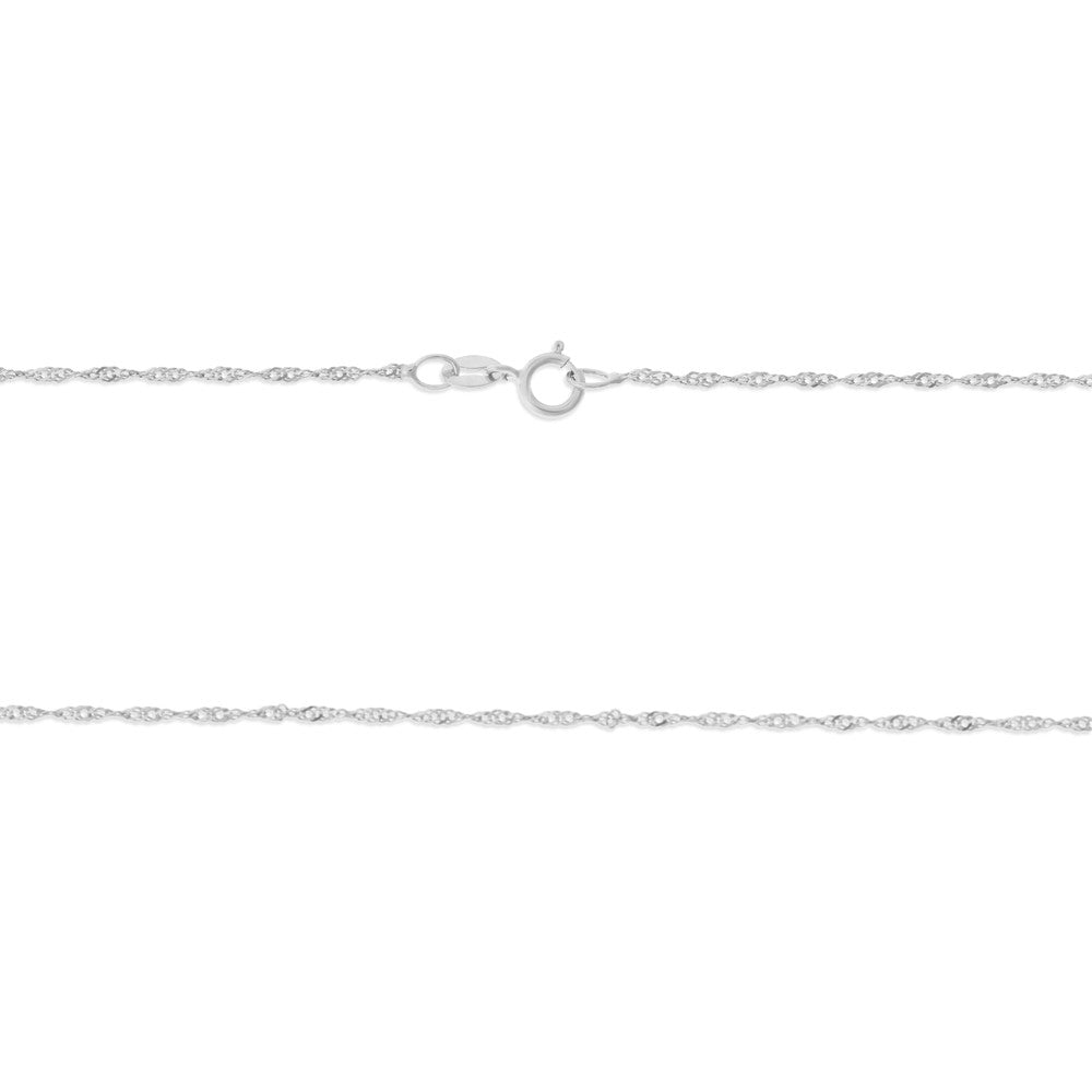 "22"" 1.0 mm. Singapore Necklace Gold Chain 14kt White Gold"