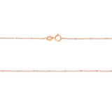 "18"" 0.6 mm. Ball Station Two-Tone Necklace Gold Chain 14kt Rose Gold"