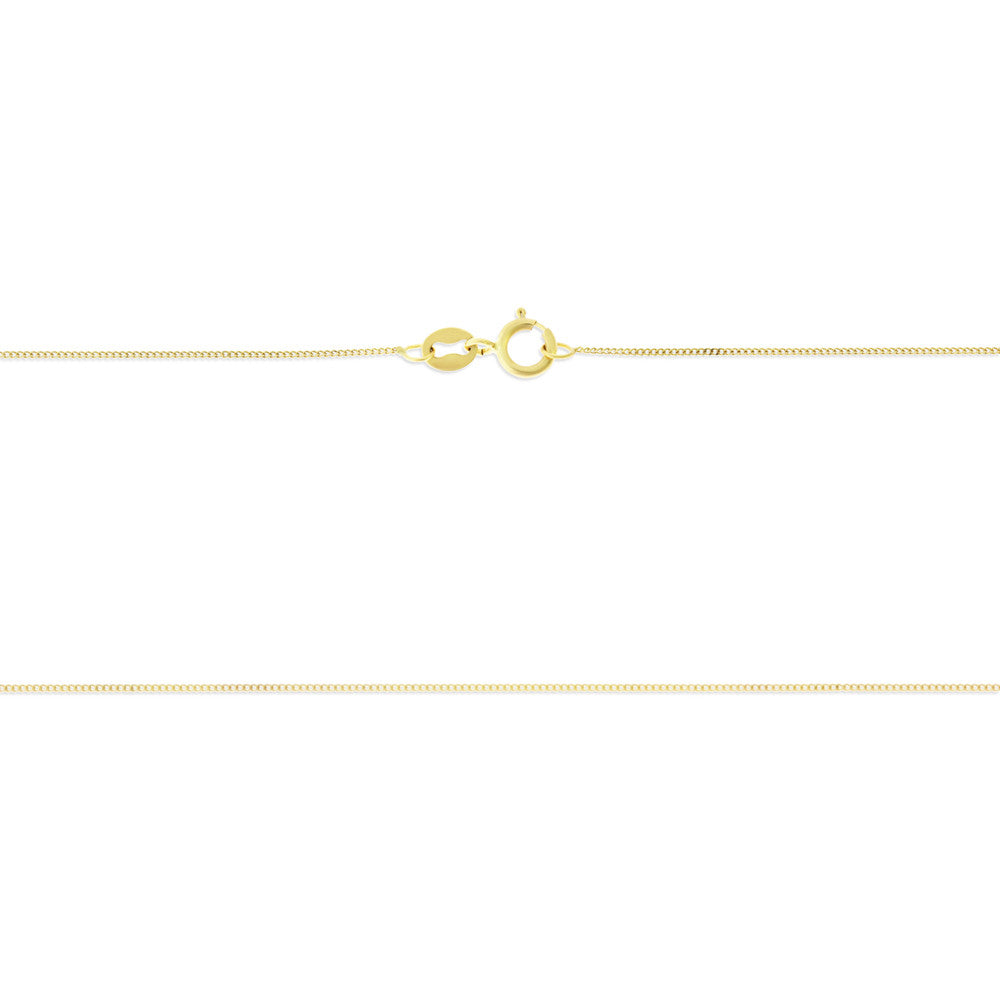 "16"" 0.3 mm. Flat Curb Necklace Gold Chain 14kt Yellow Gold"