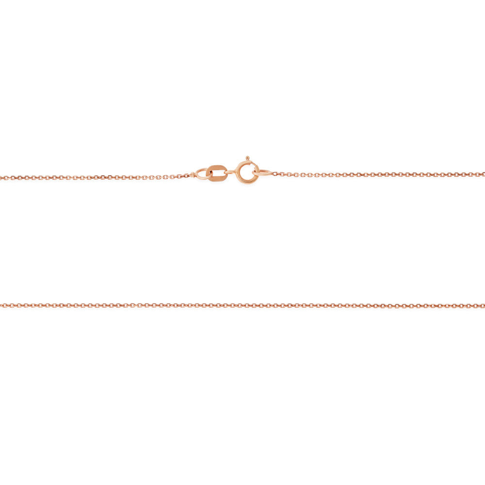 "16"" 0.6 mm. Square Rolo Necklace Gold Chain 14kt Rose Gold"