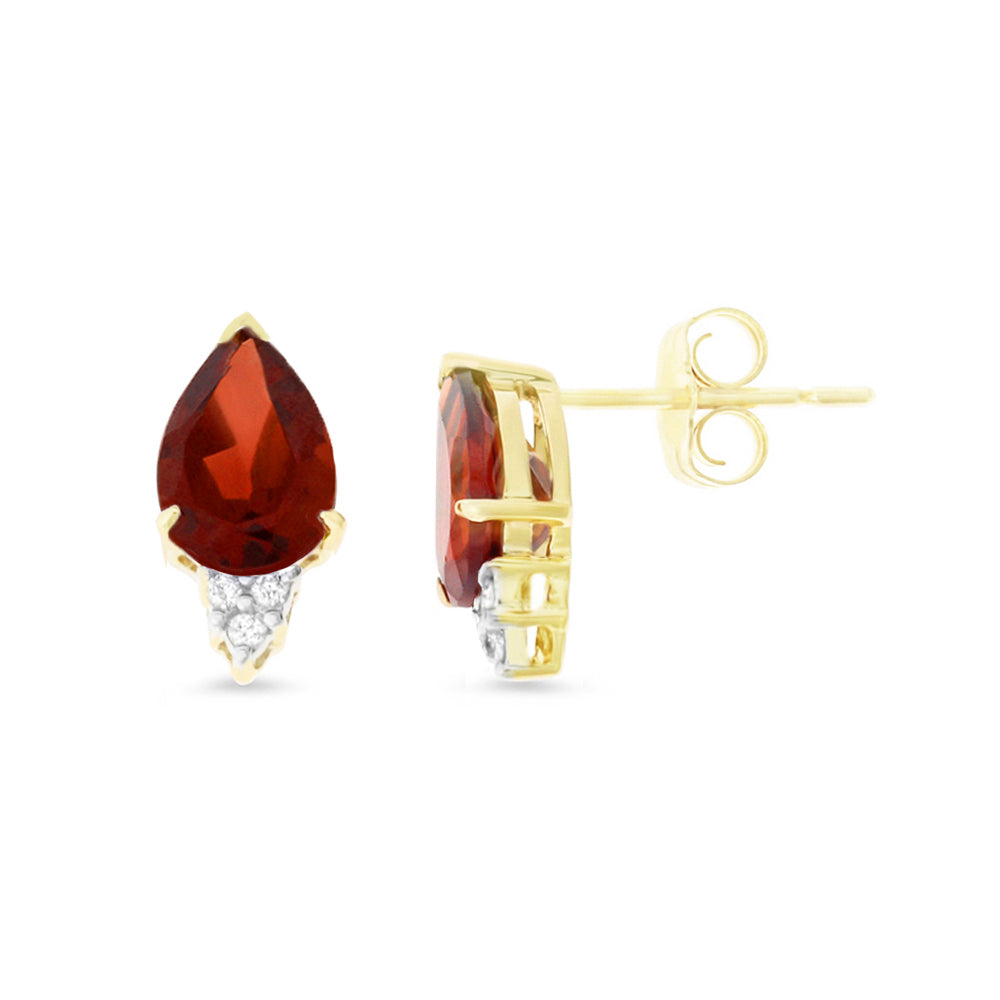 3.38ctw 6 x 8 mm. Pear Genuine Natural Garnet and Diamond Earrings 14kt Yellow Gold