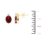 3.43ctw 6 x 8 mm. Oval Genuine Natural Garnet and Diamond Earrings 14kt Yellow Gold