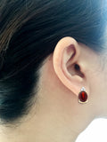 5.23ctw 6 x 8 mm. Oval Genuine Natural Garnet and Diamond Set 14kt Yellow Gold