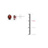 1.83ctw 5 x 7 mm. Oval Genuine Natural Garnet Earrings 14kt White Gold