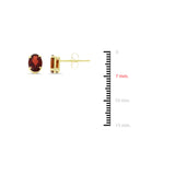 1.83ctw 5 x 7 mm. Oval Genuine Natural Garnet Earrings 14kt Yellow Gold
