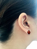 3.34ctw 6 x 8 mm. Pear Shaped Genuine Natural Garnet Earrings 14kt White Gold