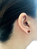 0.87ctw 5 mm. Round Shaped Genuine Natural Garnet Earrings 14kt White Gold