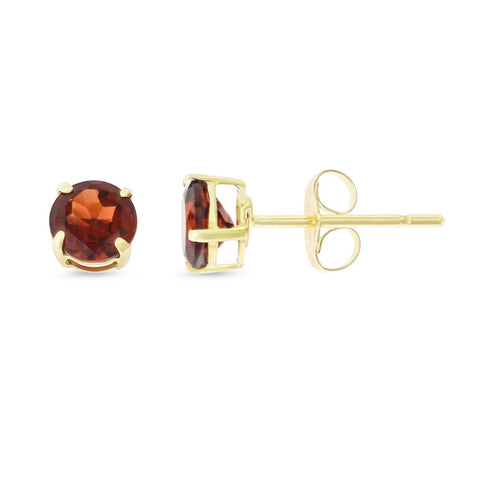 0.87ctw 5 mm. Round Shaped Genuine Natural Garnet Earrings 14kt Yellow Gold