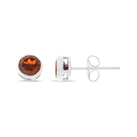 1.31ctw 5 mm. Round Bezel Genuine Natural Garnet Earrings 14kt White Gold
