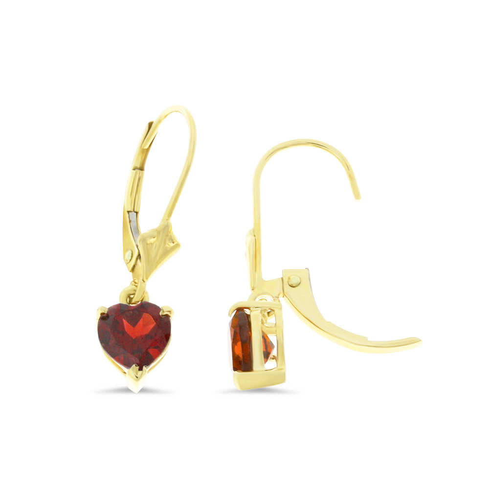 1.97ctw 6 mm. Heart Genuine Natural Garnet Leverback Earrings 14kt Yellow Gold