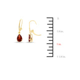 2.90ctw 6 x 8 mm. Pear Genuine Natural Garnet Leverback Earrings 14kt Yellow Gold