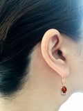 1.70ctw 5 x 7 mm. Oval Genuine Natural Garnet Leverback Earrings 14kt Rose Gold