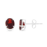 2.32ctw 6 x 8 mm. Oval Genuine Natural Garnet Earrings .925 Sterling Silver